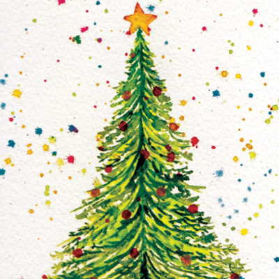 Watercolor painted Christmas Holiday Card