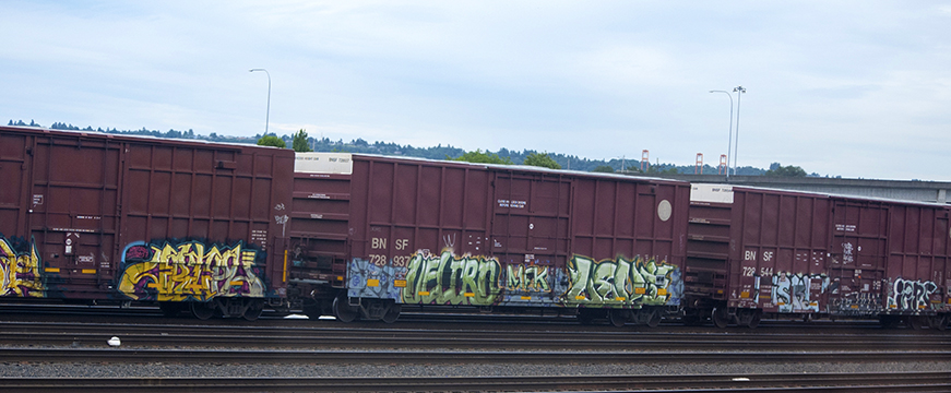 painted train cars