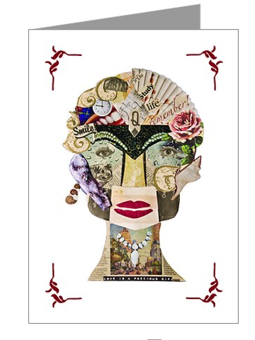 Lady Collage Greeting Card